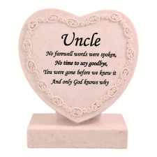 Uncle Heart Shaped Memorial Grave Plaque Cremation Marker