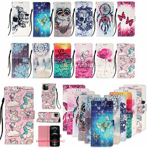 For iPhone 13 12 11 Pro XS Max 6-8+ Painted Wallet Leather Flip Phone Case Cover