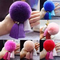 Keychain Furry  Pendant   Tassel Pompom  Holder  Women  Ball Charm  Keyring  Key
