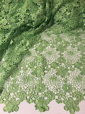 "GREEN FLOWER GUIPURE FRENCH VENICE RHINESTONE BRIDAL LACE FABRIC 52"" 1 YARD"