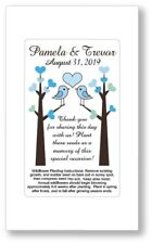 50 Love Birds Heart Wedding Bridal Shower Favors Seed Packets Personalized Blue