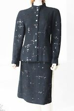 CHANEL EXQUISITE 2 PIECE SEQUIN SKIRT SUITS WITH CC LOGO 42 M42  10 MED NEW