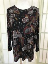 NEW Impressions Slinky Textured Black Maroon Floral Career Tunic Top Sz Large