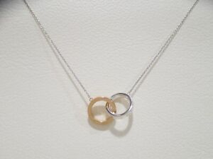 """TIFFANY & CO. sterling silver/18k rose gold interlocking circles necklace 16"""""""