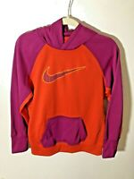 Nike Girls Large Therma Fit Orange Purple Hoodie Hooded Pullover Sweatshirt EUC