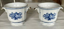 Pair Blue and White Chinese Porcelain Cache Pot Flower Pots 4.25� Tall