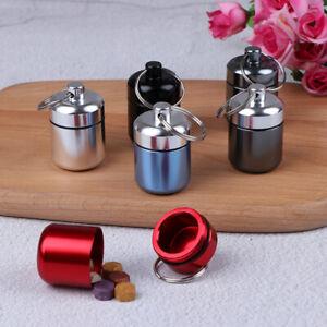 Mini Waterproof Aluminum Alloy Pill Box Case Bottle Holder Container Keychain