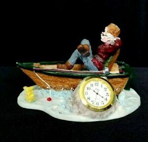 "DESK CLOCK ""FISHERMEN'S DREAM"" FIGURINE w/REMOVABLE NIKKO QUARTZ 1 1/2"" CLOCK"