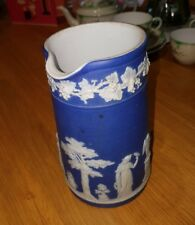 Wedgwood Dark blue jasperware vintage Victorian antique tall jug
