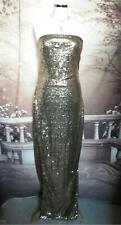 Designer Long Ballgown/Dress Size 12 Gold Sequins Stretch Strapless Pencil Sexy