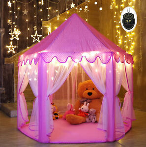Princess Fairy Tale Play House Pink Girl Castle Home Party Play Tent Star Lights