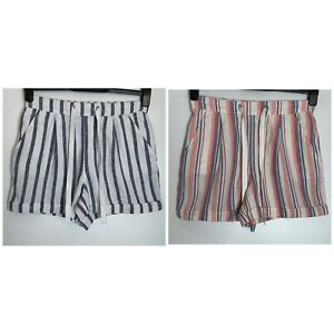 Dorothy Perkins Striped Linen Blend Pocket Shorts 2 Colours  10 - 22 (dp-33h)