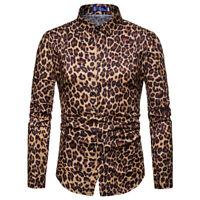 M-3XL Men' Turndown Collar Leopard Print Long Sleeve T-shirt Slim Fit Tops