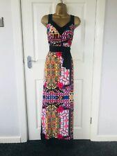 M&S Per Una Negro Estampado Multicolor Noche de Verano Informal Vestido Largo