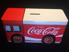 COCA-COLA TIN DELIVERY TRUCK BANK WITH MOVABLE WHEELS
