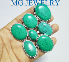 925 Silver Plated Lot Ij763 Summer 10Pcs Turquoise Gemstone Rings