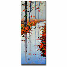 LARGE VERTICAL AUTUMN FALL RIVER IMPRESSIONIST LANDSCAPE ORIGINAL OIL Painting