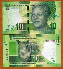 South Africa, 10 rand, ND (2012) (2014 Omron), Pick 133-NEW UNC > Mandela, Rhino