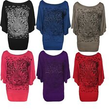 New Plus Size Womens Tiger Glitter Print Ladies Batwing Sleeve T-Shirt Top 12-30