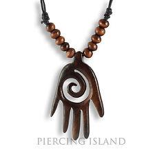 Halskette Anhänger Schutz Amulett Hamsa Hand Holz N254