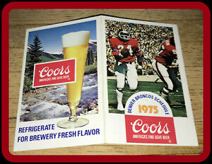 1975 DENVER BRONCOS COORS BEER FOOTBALL POCKET SCHEDULE FREE SHIPPING