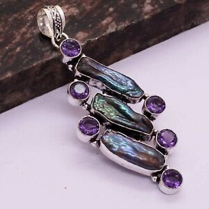 "Biwa Pearl Amethyst Ethnic Handmade Pendant Jewelry 3.24"" AP 29411"