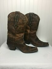 "Womens Ariat Western Boots Size 9.5 B square Toe with Metal Studs 2"" Heel"