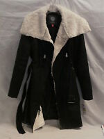NWT VINCE CAMUTO BLACK/WHITE SZ M COAT WITH ZIPPERS AND BELT Retail $228
