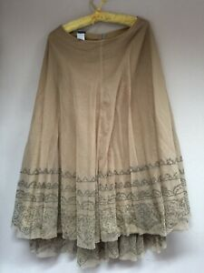 Lilith Womens Cotton Flared Mesh Skirt Fully Lined Beige Sz Large Made in France
