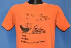 vtg 80s SEATTLE ENGINEERING TEAR UP YOUR STREET SED SDOT FUNNY CARTOON t-shirt M