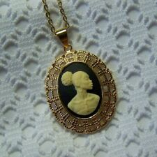 African Queen Gold Cameo Necklace, African American Woman Large Pendant