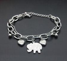 Unisex Elephant Heart Stainless Steel Punk Chain Link Clasp Cuff Bangle Bracelet