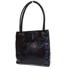 Auth CHANEL CC Logo Shoulder Bag Patent Leather Black Italy Vintage 31ET050