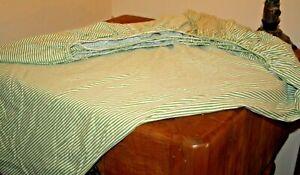 """Lorena Garao Green Stripe Cotton Queen Fitted Sheet 12"""" Pocket Elastic Around"""