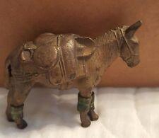 """Vintage 2 1/4"""" Brass/Cast Iron Traveling Mule/Donkey w/ Gear"""