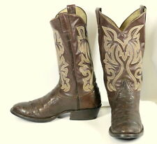 Brown Ostrich Leather Cowboy Boots Vintage Mens Size 8.5 D Country Western Shoes