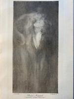 Eugene CARRIERE gravure Eau Forte Original etching le baiser maternel 1900