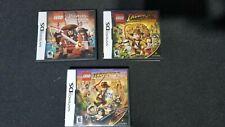 Nintendo DS 3x Kids Games Lot - LEGO Indiana Jones 1, 2 & Pirates of the Caribbe