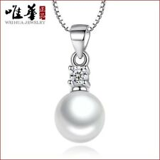 925 Natural White Silver Pearl Pendant Necklace Fashion Jewelry Crystal Gift