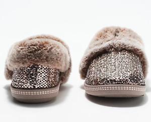 Skechers - Plush Faux-Fur Metallic Slippers - Cozy Campfire - Rose Gold