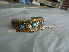 gold over Sterling silver stamped turquoise cuff bracelet unique Free Ship