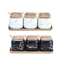Nordic Style Marble Pattern Kitchen Seasoning Tank Set Spice Jar Accessories