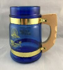 Vintage Cedar Point Souvenir Blue Glass Mug Wood Handle Amusement Park Ohio