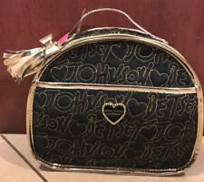 NEW Betsey Johnson Black and Gold Train Case Handbag with Tags