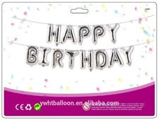 "16"" Silver Happy Birthday Banner Foil Balloon Bunting Ballons with String"
