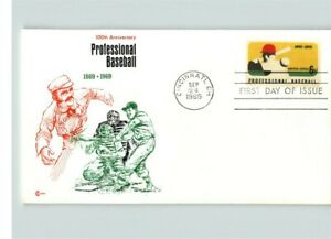 Professional BASEBALL 100th Anniversary, 1969 First Day of Issue by Cachet Craft
