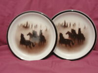 Two (2) LODGE STONEWARE - BIG SKY Pattern - SALAD PLATES  *scratched*