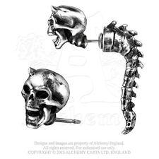 Wraith Spine Horned Skull Faux Ear Stretcher Post Earring E321 Alchemy Gothic