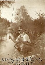 Org 1940s Sepia RP- Camera Info- Fishing- Bamboo Pole- Story of a Starry Night