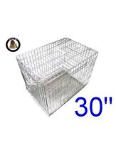 Ellie-Bo Dog Puppy Cage Medium 30 inch Silver Folding 2 Door Crate with Non-Chew